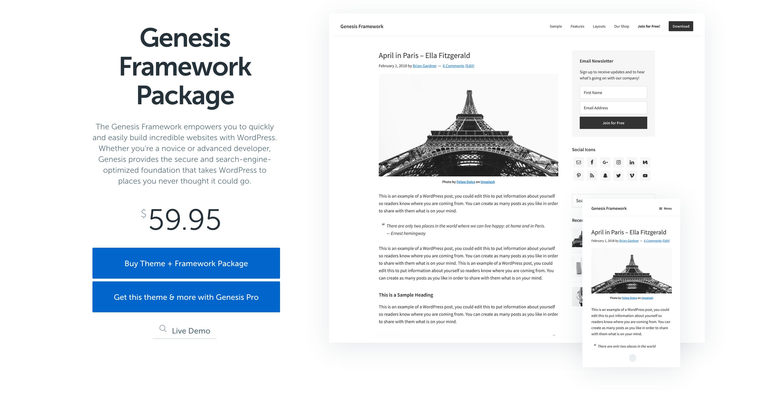 Free Genesis Framework by StudioPress